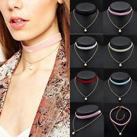 Gothic Punk Velvet Pearl Charm Pendant Gold Chain Choker Necklace Retro Jewelry