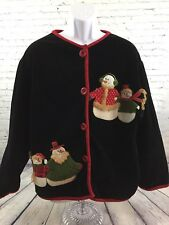 Christmas LS Sweater Button Front Black Red Decorated Suede Velvet Feel One Size