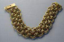 9ct gold 2 row ring bracelet, 19cm long x 2.5cm wide, 64.9gms  - second hand