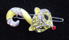 Vintage Silvertone Yellow Enamel Rinestones, CAT Shape Hair Clip