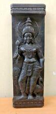 Vintage Hindu God Kartikeya Murugan Peacock Statue Wooden Wall Panel Sculpture