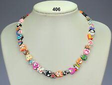"""Fun, nouveauté Multicolore Fimo Argile Animal collier, plaqué argent boules - 18"""""""