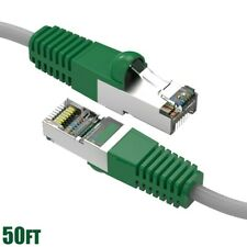 50FT Cat5E RJ45 Network Ethernet FTP Shielded Crossover Cable Copper Green Boot