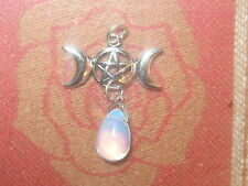 SILVER OPALITE PENTACLE PENTAGRAM WICCAN TRIPLE MOON GODDESS PENDANT NECKLACE