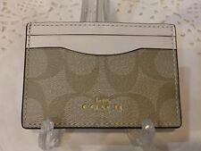 Coach Credit Card Case Holder Signature Light Khaki/Chalk - F63279