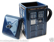 DR87 Doctor Who Tardis Mug w/Lid Time Machine BBC Police Call Box Coffee Tea Cup