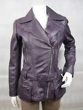Ladies Purple Napa Leather Zip Slim Tight Fitted Biker Jacket Bike