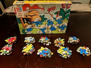 Vintage Smurfs Puzzle Milton Bradley 100 piece 16x11 c4190-4