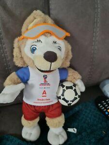 RARE FIFA WORLD CUP MASCOT ZABIVAKA WITH ALPHA BANK SHIRT 35cm