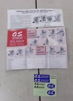 O.S. Engines Instructions Decals for FP Engines Motor & Engine Parts & Acc