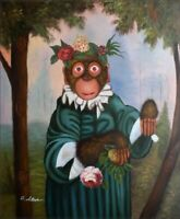 Quality Hand Painted Oil Painting Monkey Holding Flowers 20x24in