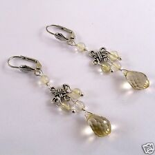 JFTS 925 Sterling/Tibetan Silver Lemon Quartz Leverback Bead Earrings 2 3/4 In