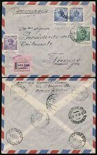 ETHIOPIA ASMARA to ITALY REGISTERED 1952 HAILE SELASSIE BIRTHDAY...AIRMAIL