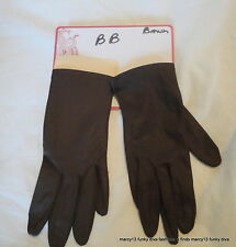 Nos Vintage Fownes Cocoa Brown Nylon Ladies' Wrist Length Gloves Size 6 Bb
