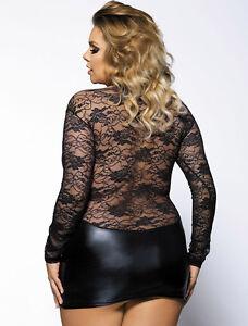 PLUS Size Sexy LACE Wetlook Micro Mini Dress or Top 6 8 10 12 14 16 18 20 22 24