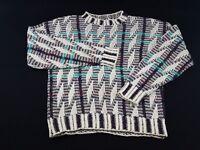 Tony Lambert Mens M White Checkered Sweater Woven 80s 90s Vtg Long Sleeve