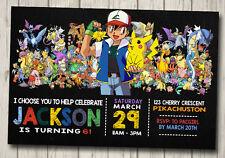 POKEMON GANG Invitation Birthday Party Invite YOU PRINT ASH POKEMON PIKACHU