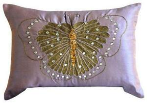 12x14 inch Art Silk Purple Lumbar Oblong Pillow Cover - Embroidered Butterfly