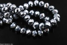 Bulk 200Ps Silver Plated Crystal Glass Faceted Rondelle Bead 4mm Spacer Findings