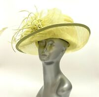 OOAK Tricia Feathered Designer Hat Easter Wedding Church Derby Yellow Lime Green