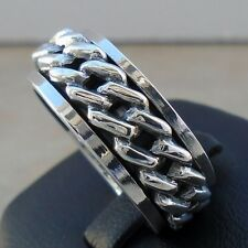 925 Sterling Silver Chain Link Spin Ring Size 10 Spinner Band Solid Hall N S New