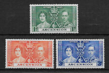 ASCENSION , 1937 , GEORGE VI , CORONATION  , SET OF 3 STAMPS , PERF , VLH