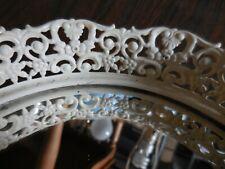 """Vintage Vanity Mirror Tray Round White Shabby Chic Filigree Frame 5.5"""""""
