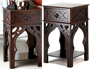 "25"" EXOTIC MOROCCAN-STYLE SIDE, END OR NIGHT TABLE w/ Drawer & Shelf ** NIB"