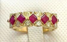 14k Yellow Gold Ruby & Diamond Ring Band 1 3/4 CTW