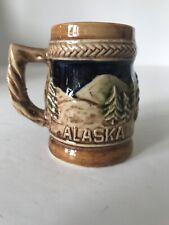 Vintage Alaska Ceramic Mini Stein Shot Glass Toothpick Holder Trees And Ram