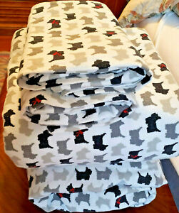 Complete Set Cotton Flannel Sheets Flat Fitted Cases Scottish Terrier design Kin