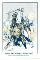 Antique WW1 printed postcard Find President Poincaire artist signed A E Horne
