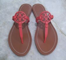 TORY BURCH Mini Miller Thong Sandals Red Leather Size 8.5 New In Box FREE SHIP
