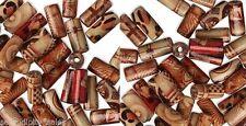 Lot 100 PAINTED WOOD (BAMBOO)  ART Craft  BEAD~12mm Tube ~ Mixed designs