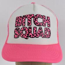 Neon Pink B*tch Squad Leopard Print Girls Trucker hat cap Adjustable Snapback