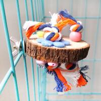 HN- KE_ KF_ Round Wooden Stand Platform Parrot Toys Bird Pet Bite Chew Cage Hang