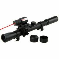 New 4x20 Rifle Optics Scope Tactical Rifle&Red Dot Laser Sight&11mm Rail Mounts