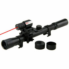 New 4x20 Rifle Optics Scope Tactical Rifle&Red Dot Laser Sight&11mm Rail Mounts