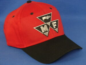 Massey Ferguson Hat - Black Red - Triangle Logo - Low Crown