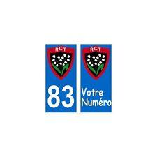 83 RCT toulon rugby autocollant plaque droits