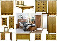 Rustic Solid Oak Bedroom Furniture Set Wardrobe Drawers Bedside Bed Table