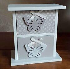 Desk Tidy Jewellery Box Mini Grey & White 2 Drawers Gift Shabby Chic Heart New