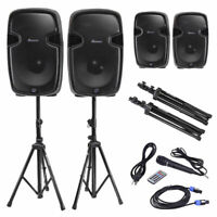 "Dual 12"" Powered Speakers w/ Bluetooth + Mic + Speaker Stands + Control + Cables"