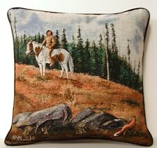 Native American On A Horse In The Woods w/ Trees, Red Fox Tapestry Pillow New