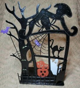 PartyLite Spooky Time Haunted House Halloween Black Metal Candle Holder