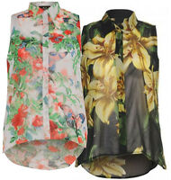 Ladies Plus Size Multi Floral Collared Button Shirts Chiffon Blouse Tops 8-26