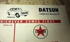 1960 1961 1962 1963 DATSUN BLUEBIRD  -  CALTEX AUSTRALIA  Lube Chart