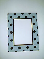 Picture Framing Mat 8x10 for 5x7 photo Polka Dots in Light Blue and Black