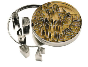 Set of 26 Alphabet Letter Shaped Biscuit, Pastry Cookie Cutters & Storage Tin