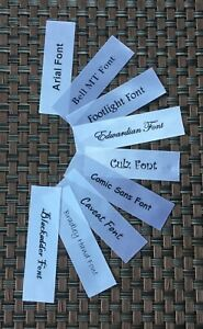 "SEW ON PERSONALISED ""SATIN"" NAME LABELS - 7cm x 2cm  - Washable -"